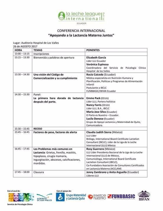 Ponencias de la Conferencia internacional del próximo 26 de agosto